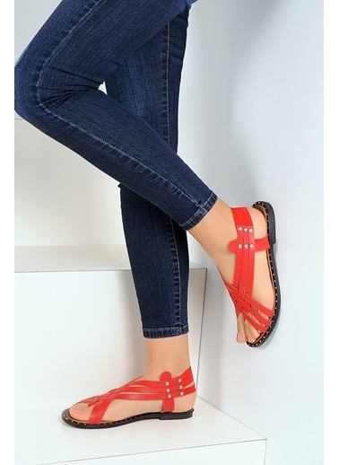 Pembe Potin A1105-19 Kadın Sandalet A1105-19 Kırmızı